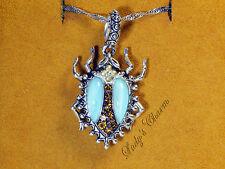 Barbara Bixby Gemstone Scarab Charm Pendant Sterling Silver 18K