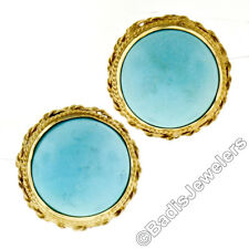 Vintage 14k Gold Round Robin Egg Turquoise Button Earrings w/ Twisted Wire Frame