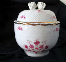 Hollohaza Round Candy or Trinket Dish Bowl Porcelain w/Lid and Rose Bud Handle