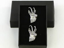 Goat Head Fine English Pewter Large Bold Cufflinks Gift Mens Boxed