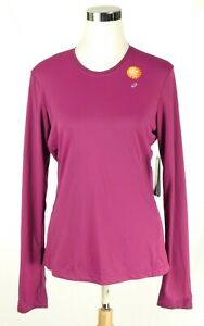 NWT Asics Women Pink Athletic Top Semi-Fitted Medium Long Sleeve Hydrology NEW