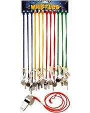 Bulk Wholesale Job Lot 60 Metal Whistles on Lanyard Toys