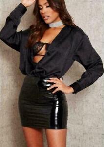 Mini Bodycon Party Skirt Women Ladies High Waist Vinyl PVC Shiny wet Look 8-22