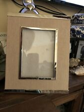 Pottery Barn Silver & Linen Picture Frame  8x10 Glass Table Top