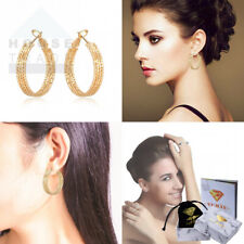 Yumay-9ct Gold Filled Creole Diamond Cut Hoop Earrings for Womens and...