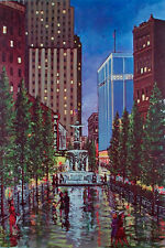 VINTAGE Fountain Square CINCINNATI OHIO Art Print GENIUS OF WATER Poster ALBEE