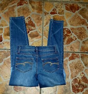 JUSTICE GIRLS SIMPLY LOW SUPER SKINNY LIGHT BLUE PATCHES JEANS SZ 10 EUC!