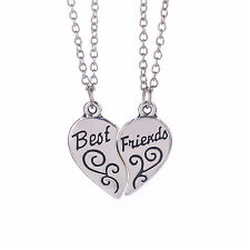 2017 2pcs Best Friends MOOD Heart Necklace Pendant Set of necklaces silver BFF