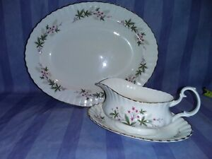 """Lovely Royal Kent """"Sylvia"""" 13.5 inch Platter, Gravy Boat and Stand, VGC  REDUCED"""