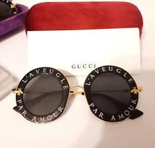 4dcd63b252 New Authentic Gucci GG0113S 001 Black Gold Sunglasses 44mm L Aveugle Par  Amour