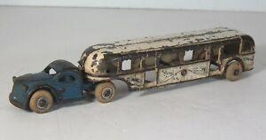 """1933 CAST IRON CHICAGO WORLDS FAIR GMC GREYHOUND TOUR BUS / TRAM By ARCADE 10"""""""