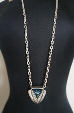 NEW Uno De 50 Long Silver Chain Crystal Elements Blue Pendant Statement Necklace