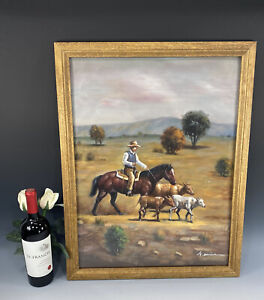 Southwest USA Pastel Painting of Cowboy herding 3 young steers signed G.Dorian