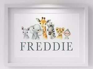 Personalised Animal Name Baby Nursery Print Bedroom Wall Art Picture Decor Gift