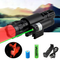 Tactical Combo Red LED & Green Laser Dot Sight Hunting Flashlight GUN Spotlight