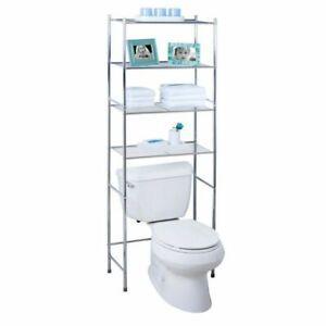 Honey-Can-Do BTH-05281 4-Tier Over-The-Toilet Shelving Unit - Chrome