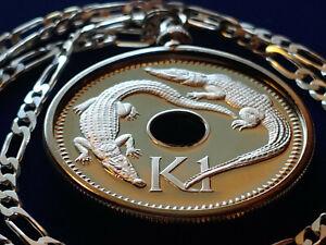 "Papua New Guinea Twin Crocodile Proof Coin Pendant on a 24"" Italian Silver Chain"