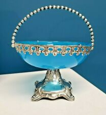 French Antique Bohemian Blue Opaline Glass & Silver Bride's Basket Bowl Compote