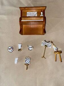 Vintage Reutter Porcelain Music Room  Dollhouse Miniatures 1:12 Piano Violin