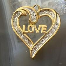 10K Yellow Gold Diamonds LOVE Heart Shape Pendant Necklace For Women