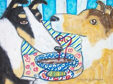 Smooth Collie Drinking Coffee Art Print 8x10 Signed by Artist Dog Collectible