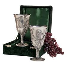 Design Toscano Set of Dragon Pewter Goblets in Green Velvet Box