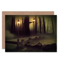 Birthday Painting Dark Forest Lights Blank Greeting Card With Envelope