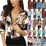 Women V-Neck Floral Shirts Casual Long Sleeve T-shirt Office Work OL Tee Blouse