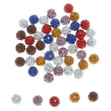 50pcs Mixed Pave CZ Disco Ball Crystal Shamballa Beads Bracelet Making 10mm