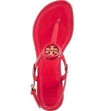 New $225 Tory Burch Dillan Samba/Gold Patent Leather Flat Sandal 10