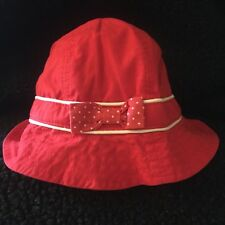 NWT Baby Girls Gymboree Poppy Fields Hat Red Polka Dot Bow 0-6 3 Months Vintage