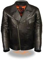 Mens Black Braided Leather Motorcycle Jacket w Utility Pockets, Gun Pockets