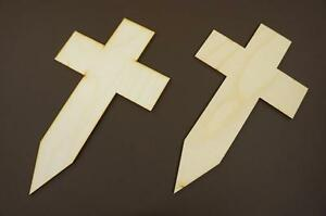 10x Wooden Cross Shapes Plain Tags Blank Crusyfix Craft Memorial Shape W93