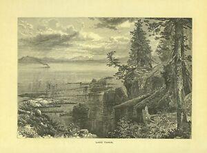 LAKE TAHOE  California  <  by Thomas Moran 1874  Antique Engraving