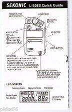 SEKONIC 308S LIGHT METER QUICK GUIDE (ORIGINAL PRINT JAPAN/not copies)