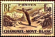 FRANCE CHAMONIX SPORT SKI SKIING MONT BLANC ** 1937 24 CARATS OR GOLD PLATED