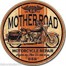 Mother Road Route 66 Motorcycle Bike Repair Vintage Retro Metal Tin Sign 1697