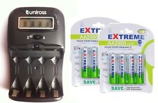 UNiROSS LCD 1-2 HOUR AA/AAA  Battery CHARGER & 8 x AA 2900 mAh Rechargeable Batt