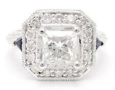 1.93CT PRINCESS CUT DIAMOND & SAPPHIRE ANTIQUE STYLE ENGAGEMENT RING P60