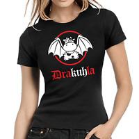 Drakuhla Dracula Vampir Kuh Comic Sprüche Fun Comedy Lady Damen Girlie T-Shirt