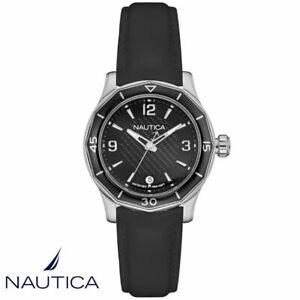 Nautica NAD12539L NWS 01 Armband Uhr Damen silber schwarz Silikon NEU