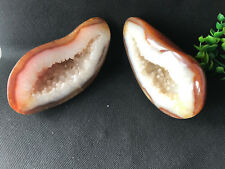1459g Natural Pair Mini Carnelian Geode Crystal Quartz Agate Polished Specimens
