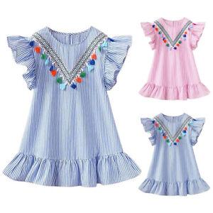 Toddler Kids Girls Short Sleeve Striped Tassel Ruffle Dress Summer Shirt Dresses