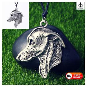 Greyhound Antique Silver Lurcher Face Italian Celtic Puppy Dog Necklace Pendant