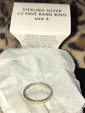 Avon Sterling Silver CZ Pave Band Ring Size-6 NIB 2013