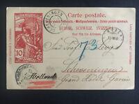 1900 Lucerne Switzerland PS Postcard cover to Scheveningen
