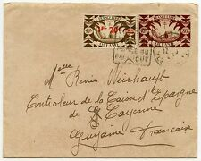 FRENCH POLYNESIA to FRENCH GUIANA 1947 80c + 1F20 SURCHARGE