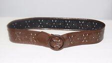 Vintage 70's 80's Women's Brown Leather Cut Out Design Cinch Belt Size S/M