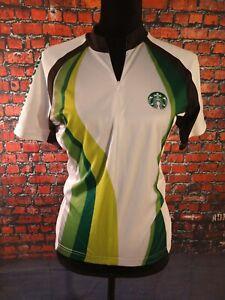 EUC green/white STARBUCKS LOGO cycling jersey - SIZE SMALL