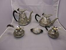 Art Deco 5 tlg. Kaffee /Tee - Service Afrika  Sterling Silber 925 punziert 1900g